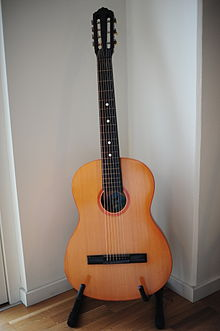 Russian acoustic guitar with seven steel strings.JPG