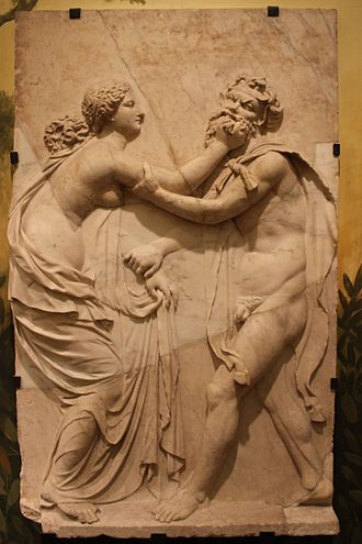 Nymph - Fight between Nymph and Satyr, Naples National Archaeological Museum.