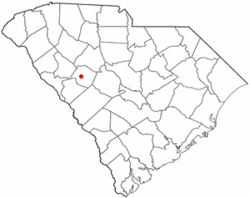Location in Saluda County, South Carolina