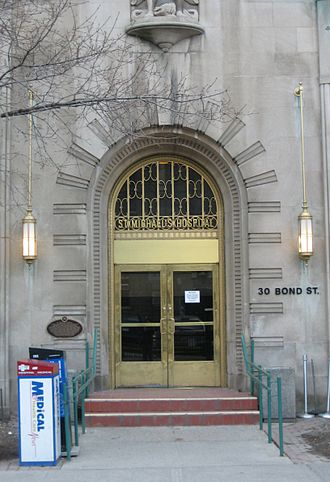 St. Michael's Hospital (Toronto) - St. Michael's Hospital - Art Deco Bond Street entrance