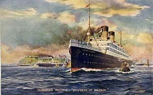 RMS Empress of Britain (1905) - Image: SS Empress of Britain pre 1924