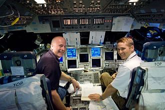 Alan G. Poindexter - Poindexter (left) in the Shuttle Mission Simulator, 2009