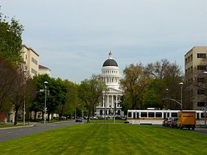 Capitol Mall - Eastward view of the Capitol Mall, with the California State Capitol terminus