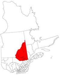 Saguenay–Lac-Saint-Jean's location in comparison tae the whole Canadian province o Quebec.