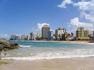 Condado (Santurce) - View from beach at hotel La Concha Resort