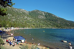 Lake Tahoe – Nevada State Park - Main beach at Sand Harbor on a summer day.