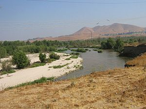 Santa Ana River - The Santa Ana River as seen from a small bluff overlooking the water.