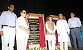 Santosh Kumar Gangwar and the Chief Minister of Tripura, Shri Manik Sarkar unveiled the plaque to lay the foundation stone of Apparel and Garment Making Unit, in Agartala, Tripura. The Minister of Industries & Commerce.jpg