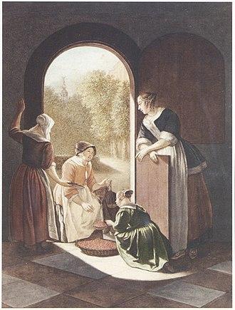 Sara Troost - The Cherry Seller - watercolor after Jacob Ochtervelt, 1787