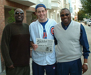 The Heckler (newspaper) - Founder of The Heckler poses in 2003 with Cubs coach Gary Matthews (left) and manager Dusty Baker (right).