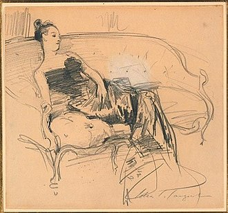 Portrait of Madame X - Image: Sargent on couch Madam X study