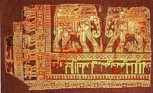 Samite - Image: Sasanian Silk Samite cloth Circa 960