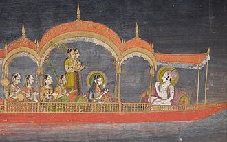 Kishangarh - Savant Singh (reigned 1748-1757) and Bani Thani in the Guise of Krishna and Radha Cruising on Lake Gundalao, Kishangarh