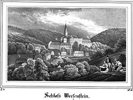 View of the village and Weesenstein Castle, 1834