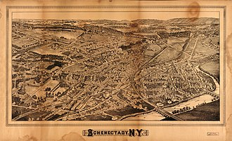 Schenectady, New York - Perspective map of Schenectady from 1882