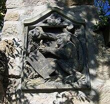 Schnuff-Stein in Erinnerung an Carl Maria von Webers Affen Schnuff an der Mauer der Hosterwitzer Kirche in Dresden (Quelle: Wikimedia)
