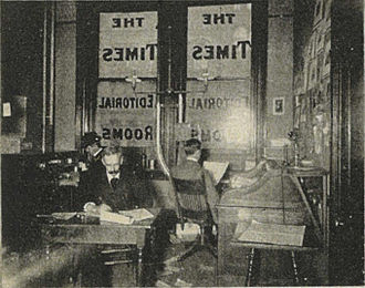 """Quarters of the news editor"", one of a group of four photos in the 1900 brochure Seattle and the Orient, which was collectively captioned ""The Seattle Daily Times--Editorial Department"". Seattle Daily Times news editor quarters - 1900.jpg"