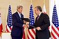 Secretary Kerry and Georgian Prime Minister Kvirikashvili Shakes Hands After Signing a Memorandum of Understanding at the Chancellery in Tbilisi (27846812660).jpg