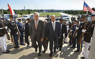 Abdrabbuh Mansur Hadi - President Hadi meets then-Secretary of Defense Hagel in the Pentagon on 30 July 2013