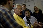 Secretary of Defense Chuck Hagel briefs the press en route to Singapore.jpg