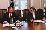 Senator Kit Bond joins President George H. W. Bush in the White House conference room.jpg
