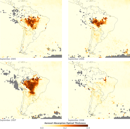Aerosols over the Amazon each September for four burning seasons (2005 through 2008) during the Amazon basin drought. The aerosol scale (yellow to dark reddish-brown) indicates the relative amount of particles that absorb sunlight. September Smoke Over the Amazon from 2005-2008.png