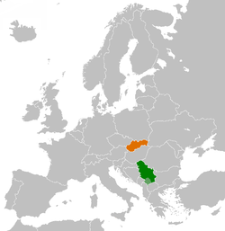 Map indicating locations of Serbia and Slovakia