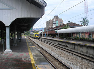 Seremban railway station - The Seremban railway station, as seen from one of its platforms. Note the line used by a KTM Komuter train (along platform 1), which is frequently used by Komuter trains along the Rawang-Seremban Line.