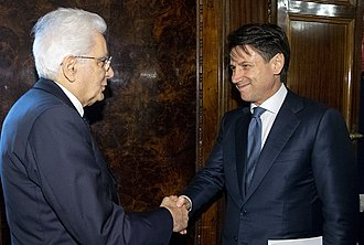 Sergio Mattarella - Mattarella with Giuseppe Conte at the Quirinal Palace.