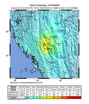 August 2016 Myanmar earthquake - Image: Shakemap Earthquake 24 Aug 2016 Myanmar
