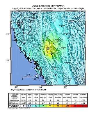 August 2016 Myanmar earthquake - Image: Shakemap Earthquake 24 Aug 2016 Myanmar