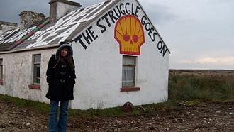 Shell to Sea - Shell to Sea mural on a gable by the Glenamoy River
