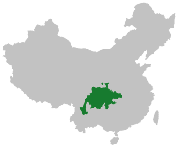 Extent of present-day Sichuanese language Sichuanese in China.png
