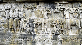 Prince Siddhartha shaves his hair and becomes a sramana. Borobudur, 8th century Siddharta Gautama Borobudur.jpg