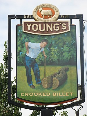 Sign for the Crooked Billet, Crooked Billet, SW19 - geograph.org.uk - 897784.jpg
