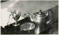 Silver tea-pot, sugar bowl, tongs, tea-strainer and tray given by Dolly Payne Madison, to Margaret Marshall Morrison.png