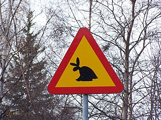 Skvader - A road sign on the approach to the museum warns drivers for skvaders on the road.