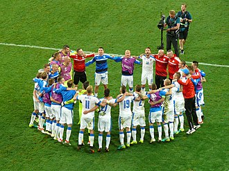 Slovakia national football team - Celebration of Slovak players after match against Russia at UEFA EURO 2016