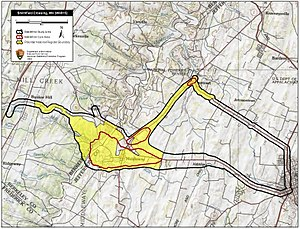 Battle of Smithfield Crossing - Map of Smithfield Crossing Battlefield core and study areas by the American Battlefield Protection Program.