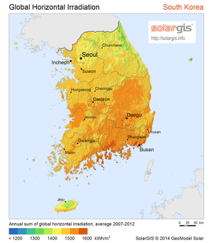 Energy in South Korea - Solar potential map