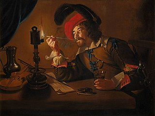 Soldier lighting his pipe from an oil lamp
