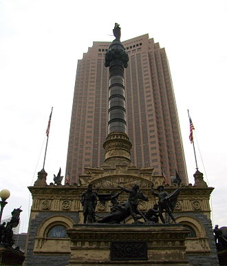 Levi Scofield - The Cuyahoga County Soldiers' and Sailors' Monument (1894) with the BP Tower in the background