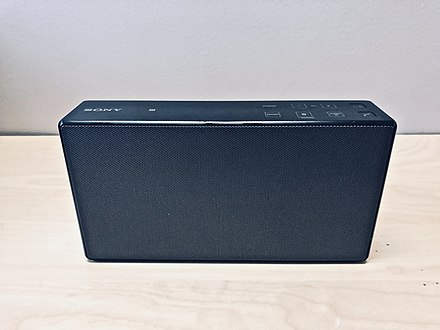 A Sony SRS X55 boombox featuring Bluetooth technology with LDAC and surround sound and the ability to act as a speakerphone to handle phone calls Sony SRS X55 Personal Audio System.jpeg