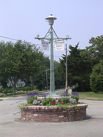 South Yarmouth, Massachusetts - The first traffic rotary in the United States stands at the intersection of River Street and Pleasant Street.