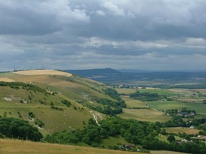 View of the South Downs in Sussex, England