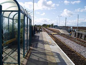 South Milford railway station - Platform 2 looking West towards Leeds