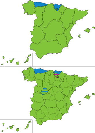 Spanish general election, 1886 - Most voted party by regions and provinces.