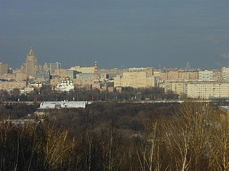 Sparrow Hills - Panoramic view of the Novodevichy Convent and Khamovniki from Sparrow Hills