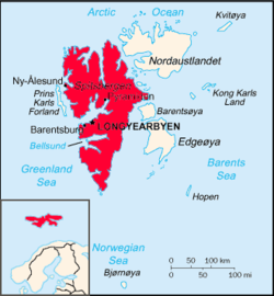 Map of Svalbard, showing Spitsbergen in the West.