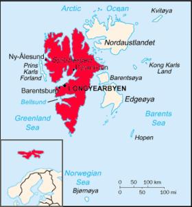 Localisation de Spitzberg (en rouge) dans le Svalbard.